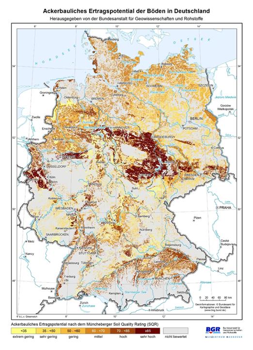Ackerbauliches Ertragspotential der Böden in Deutschland laut dem Müncheberger Soil Quality Rating